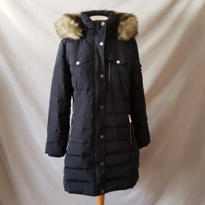Michael Kors Blue Detachable Faux Fur Hood